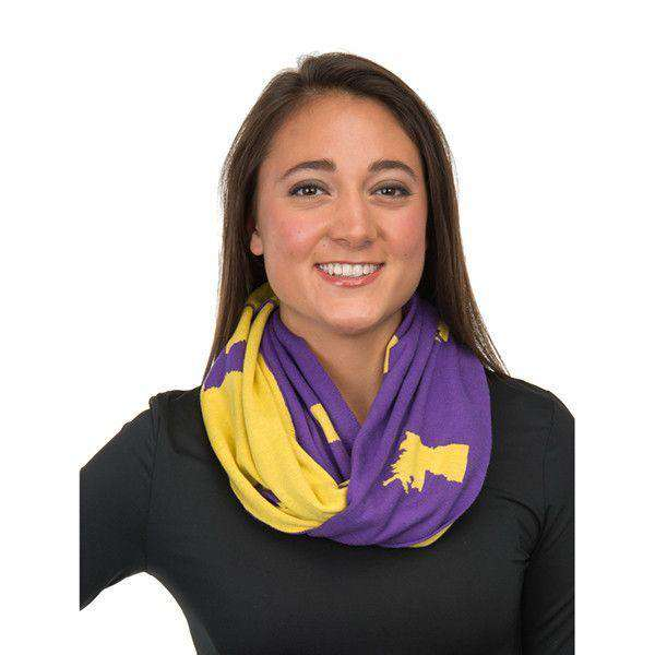 Women's Scarves & Wraps - Game Day Infinity Scarf In Louisiana Purple And Gold By Top It Off - FINAL SALE