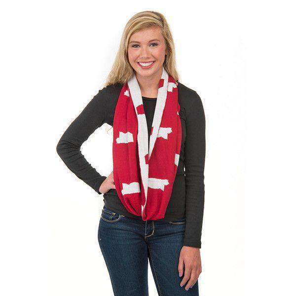 Game Day Infinity Scarf in Mississippi White and Maroon by Top It Off - FINAL SALE