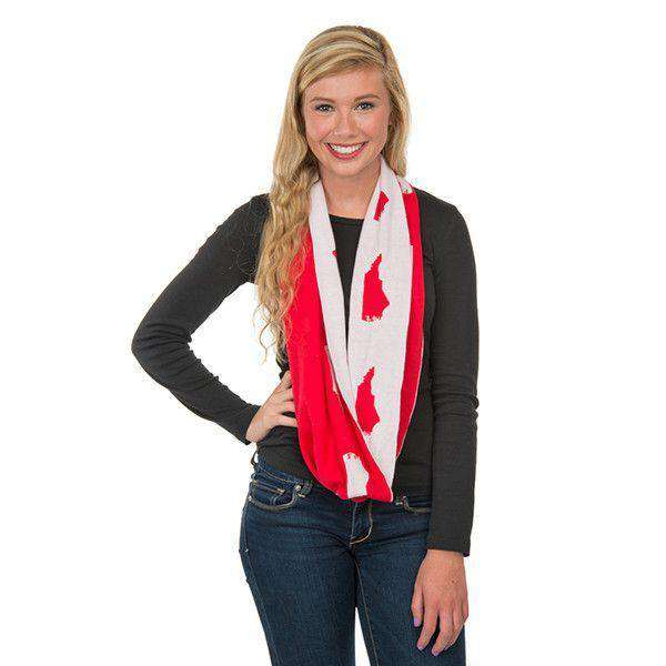 Women's Scarves & Wraps - Game Day Infinity Scarf In North Carolina White And Red By Top It Off - FINAL SALE