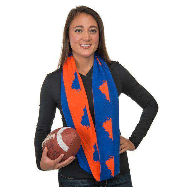 Women's Scarves & Wraps - Game Day Infinity Scarf In Virginia Blue And Orange By Top It Off