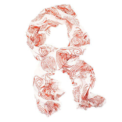 Women's Scarves & Wraps - Island Viscose Scarf In Red Rope By Hiho - FINAL SALE