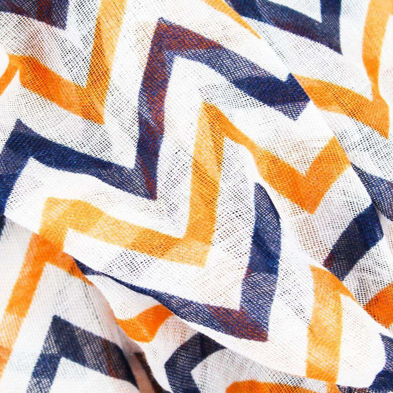 Women's Scarves & Wraps - Multi Loop Scarf In White, Orange, And Blue Chevron By Scarf 4 You