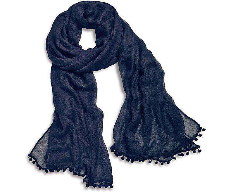 Women's Scarves & Wraps - Pareo Wrap With Pom-Pom In Navy By Sperry