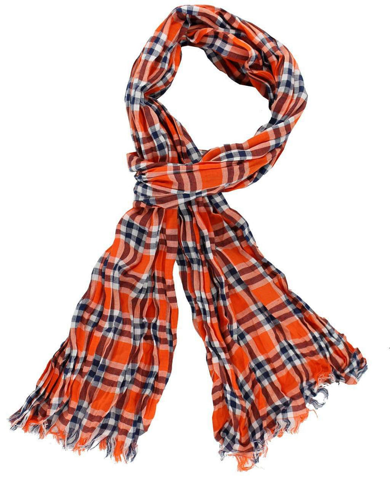 Women's Scarves & Wraps - Scarf In Orange And Navy Madras By Olde School Brand - FINAL SALE