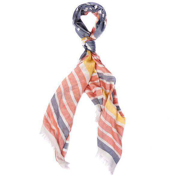 Women's Scarves & Wraps - Sealand Striped Wrap In Blue And Marigold By Barbour