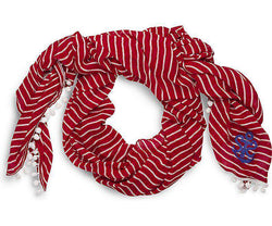 Women's Scarves & Wraps - The Brenton Stripe Anchor Pareo Wrap In Red With White Stripes By Sperry
