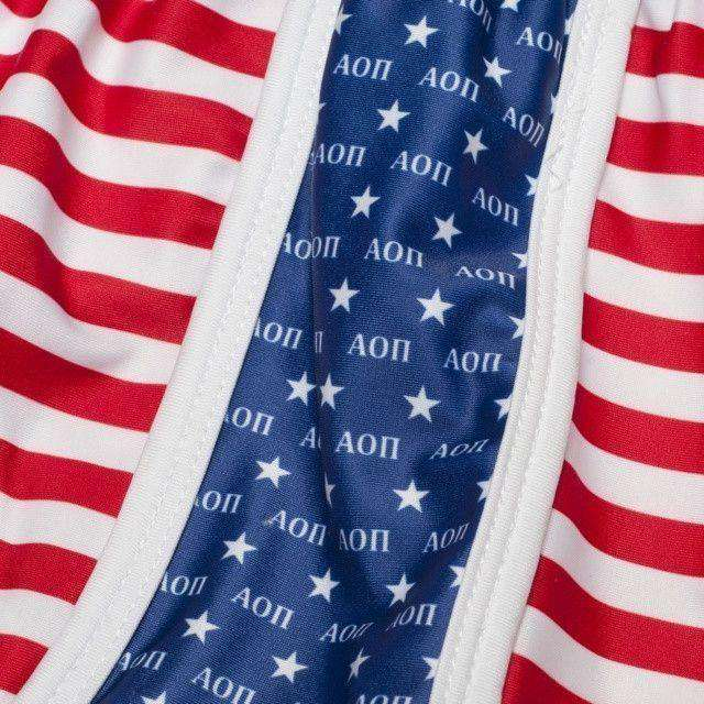 Women's Shorts - Alpha Omicron Pi Shorts In Red, White And Blue By Krass & Co.