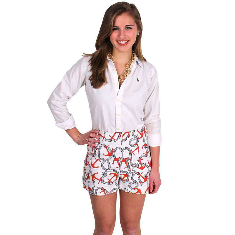 Women's Shorts - Anchors Aweigh Shorts In Red And Navy By Gretchen Scott Designs - FINAL SALE