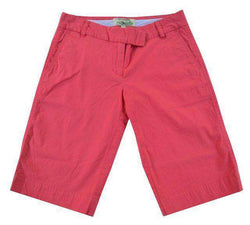 Women's Shorts - Bermuda Short In Sunset Red By Castaway Clothing