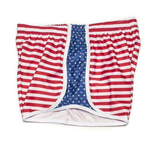 Women's Shorts - Chi Omega Shorts In Red, White And Blue By Krass & Co.