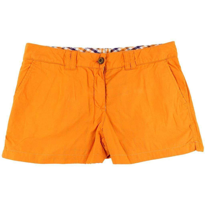 Women's Shorts - Clemson Reversible Women's Shorts In Madras And Solid By Olde School Brand - FINAL SALE
