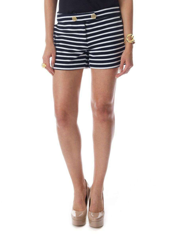 Emily Shorts in Navy and White Stripe by Elizabeth McKay