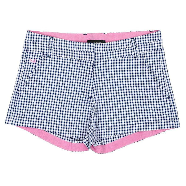 Women's Shorts - Gingham Brighton Short In Navy By Southern Marsh