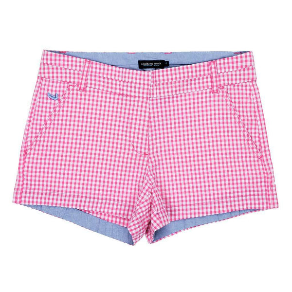 Women's Shorts - Gingham Brighton Short In Pink By Southern Marsh - FINAL SALE