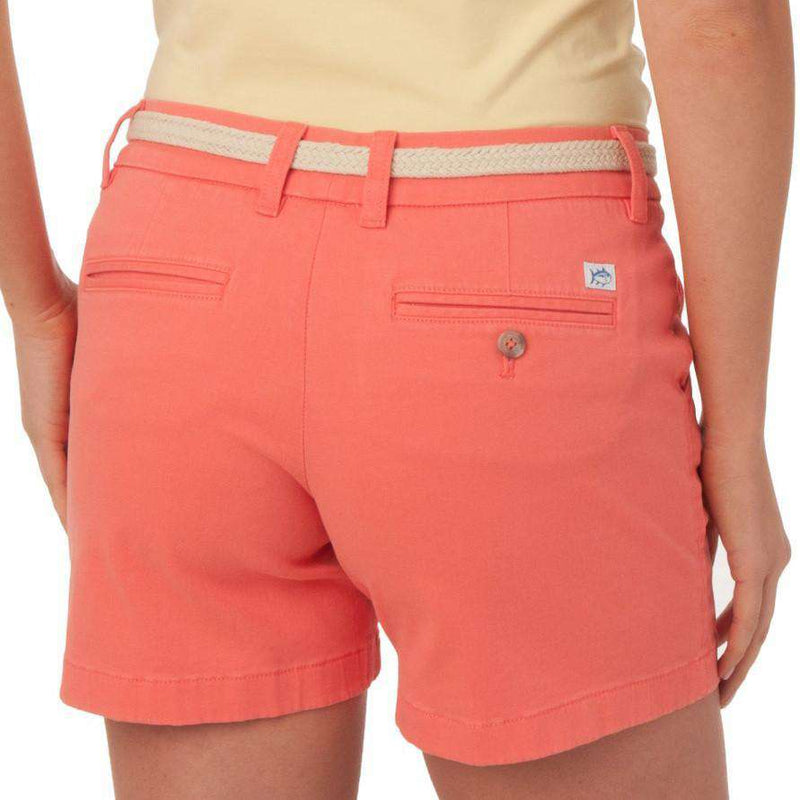 "Women's Shorts - Ladies Chino 5"" Shorts In Sugar Coral By Southern Tide"