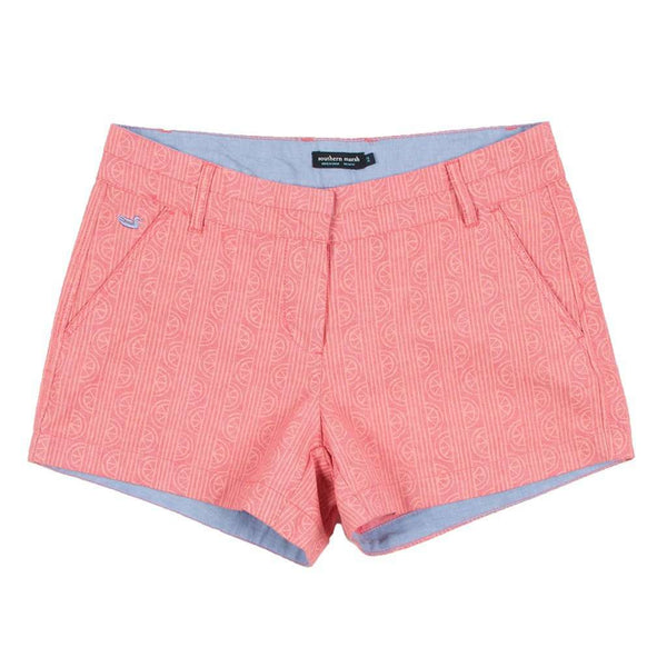 Women's Shorts - Limes Of Latitude Brighton Shorts In Strawberry Fizz & Melon By Southern Marsh