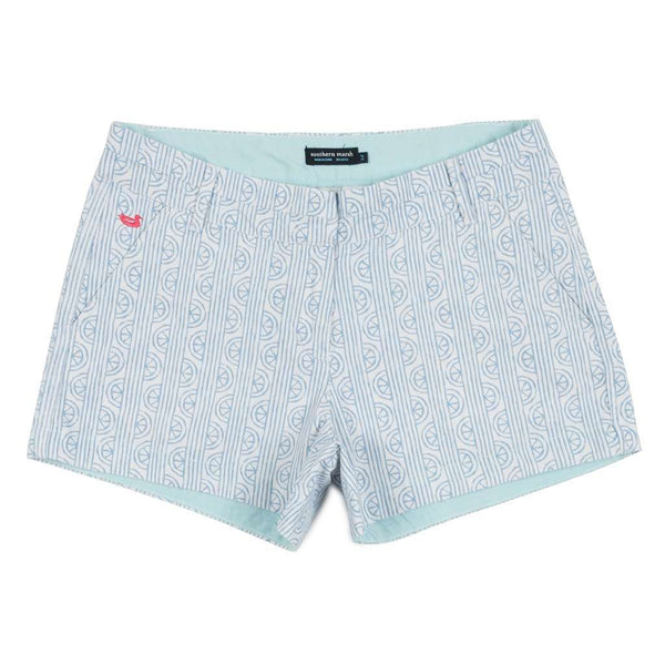 Women's Shorts - Limes Of Latitude Brighton Shorts In White & Lilac By Southern Marsh