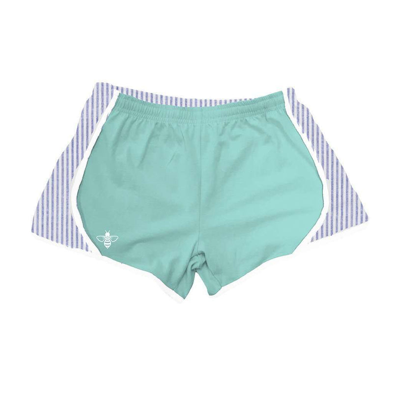 Women's Shorts - Mint Jersey With Navy Seersucker Shorts By Lily Grace - FINAL SALE