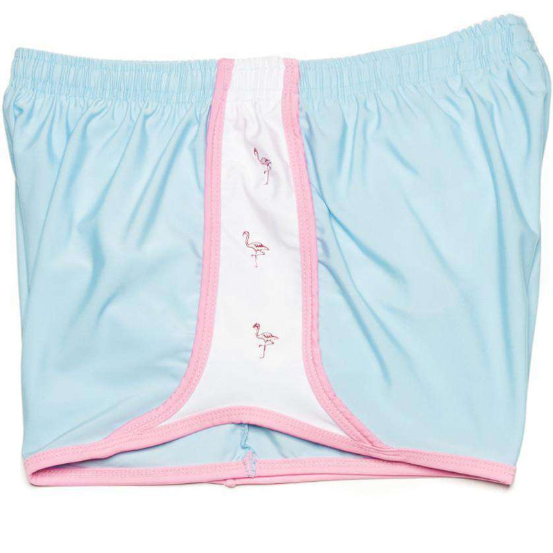 Women's Shorts - Palm Beach Shorts In Light Blue With Flamingo By Krass & Co.