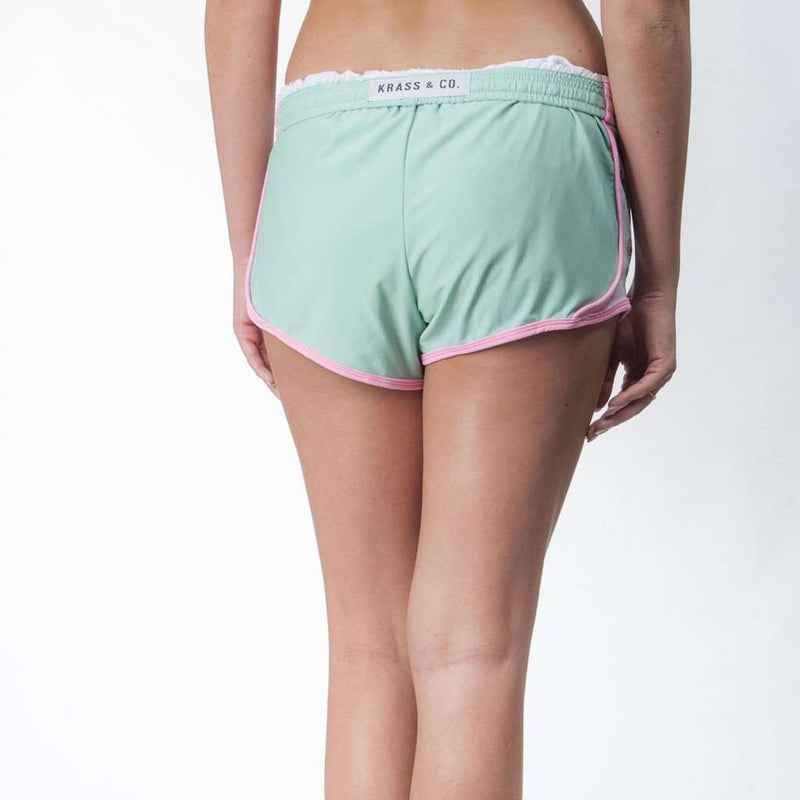 Palm Beach Shorts in Seafoam with Flamingo by Krass & Co.