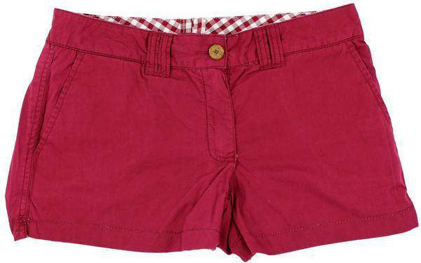 Reversible Women's Shorts in Maroon Madras and Solid by Olde School Brand - FINAL SALE