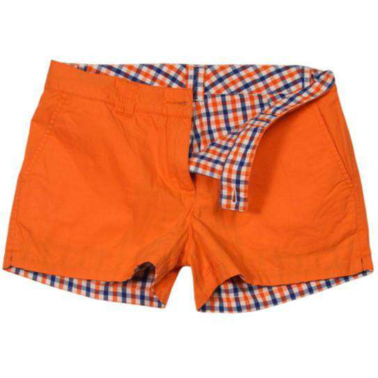 Reversible Women's Shorts in Orange and Navy Madras and Solid by Olde School Brand - FINAL SALE