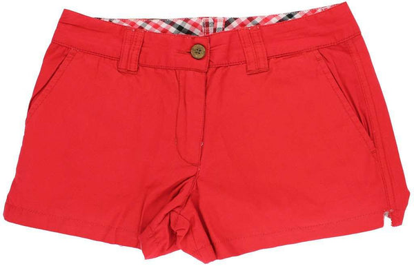 Reversible Women's Shorts in Red and Black Madras and Solid by Olde School Brand - FINAL SALE