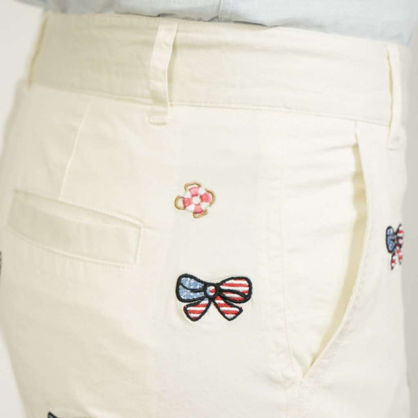 Sailing Short in White with Embroidered American Flag Bow by Castaway Clothing - FINAL SALE