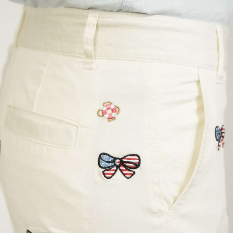 Women's Shorts - Sailing Short In White With Embroidered American Flag Bow By Castaway Clothing - FINAL SALE