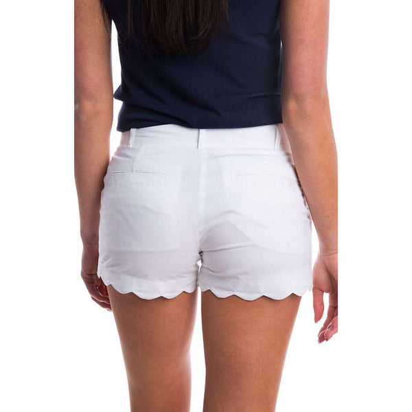 Scalloped Hem Poplin Short in White by Lauren James