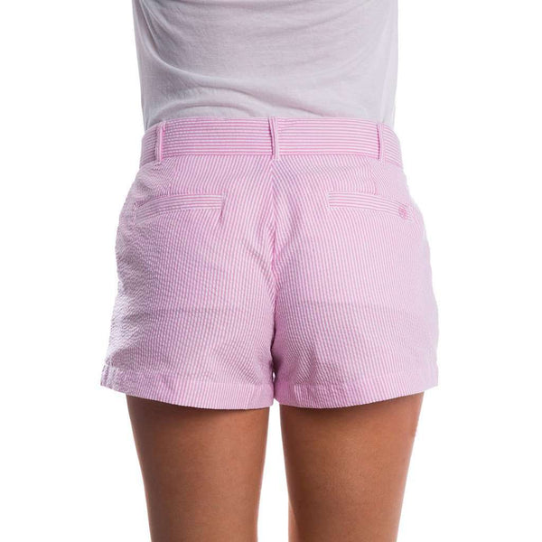 Seersucker Poplin Shorts in Pink by Lauren James