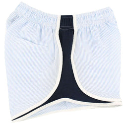 Women's Shorts - Shorties Shorts In Light Blue Seersucker By Lauren James