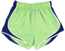 Women's Shorts - Shorties Shorts In Lime Gingham With Royal Panel By Lauren James