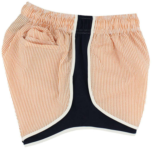 Women's Shorts - Shorties Shorts In Orange Seersucker With Navy Panel By Lauren James - FINAL SALE