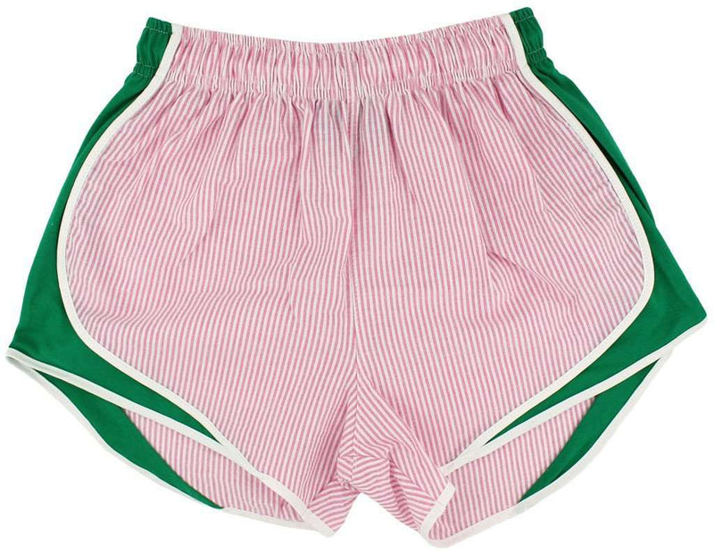 Shorties Shorts in Pink Seersucker with Mint Panel by Lauren James