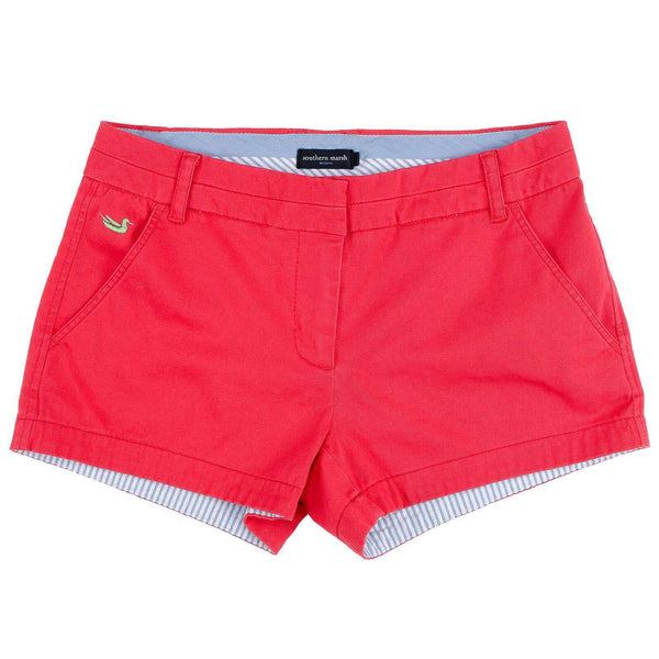 Women's Shorts - The Brighton Chino Short In Strawberry Fizz By Southern Marsh