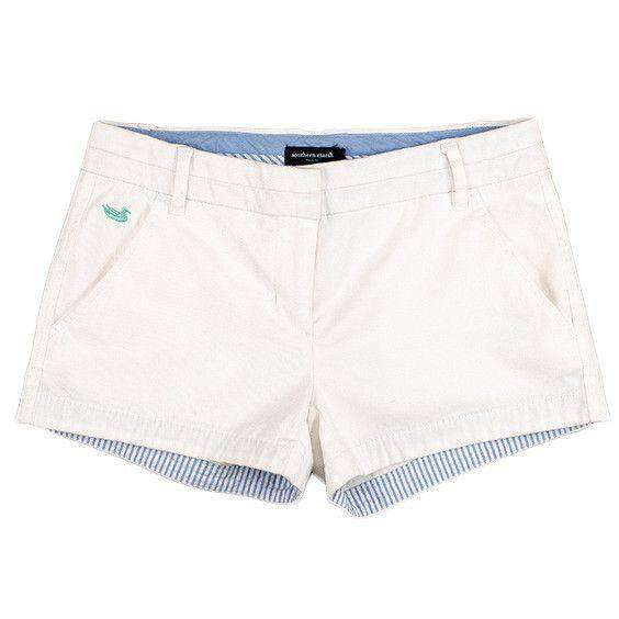 Women's Shorts - The Brighton Chino Short In White By Southern Marsh