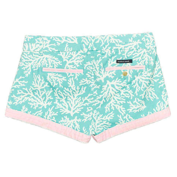 Women's Shorts - The Brighton Printed Reef Short In Antigua Blue By Southern Marsh