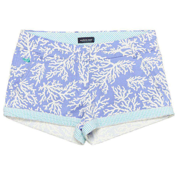Women's Shorts - The Brighton Printed Reef Short In Lilac Purple By Southern Marsh