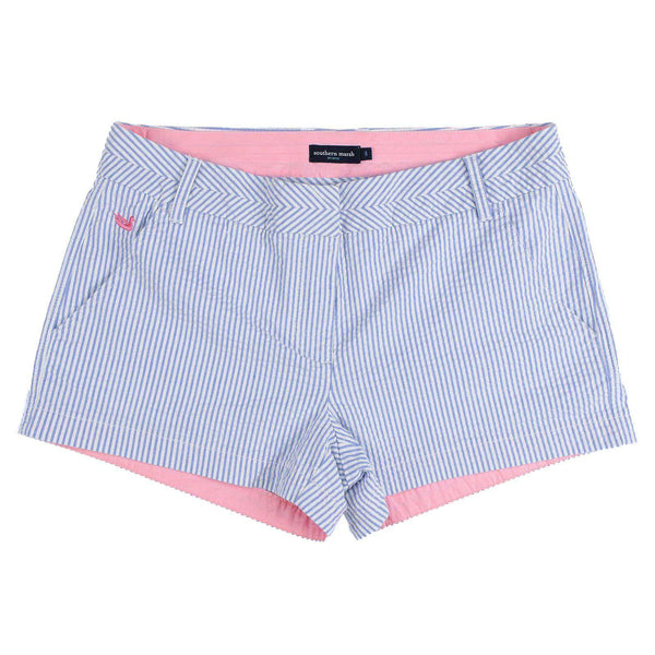 Women's Shorts - The Brighton Seersucker Chino Short In Blue Stripe By Southern Marsh