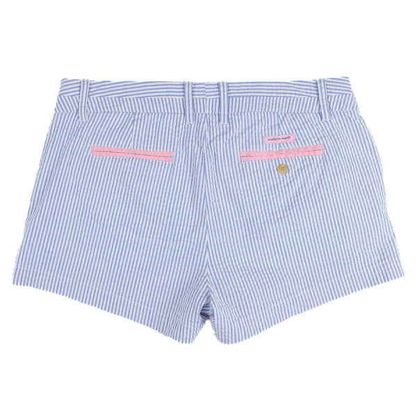 The Brighton Seersucker Chino Short in Blue Stripe by Southern Marsh