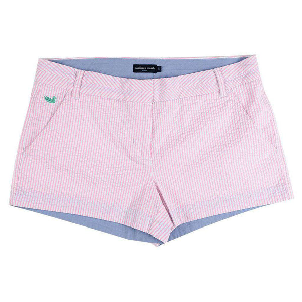 Women's Shorts - The Brighton Seersucker Chino Short In Pink Stripe By Southern Marsh