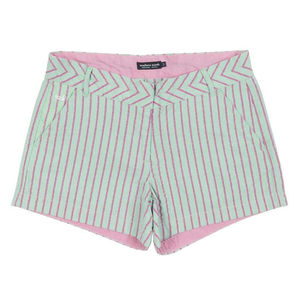 Women's Shorts - Turner Stripe Brighton Short In Mint By Southern Marsh