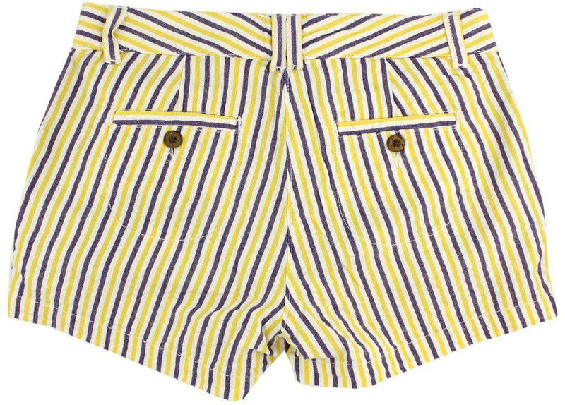 Women's Shorts - Women's Shorts In Purple And Gold Seersucker By Olde School Brand - FINAL SALE