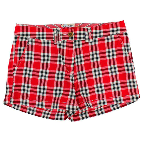Women's Shorts - Women's Shorts In Red And Black Madras By Olde School Brand - FINAL SALE