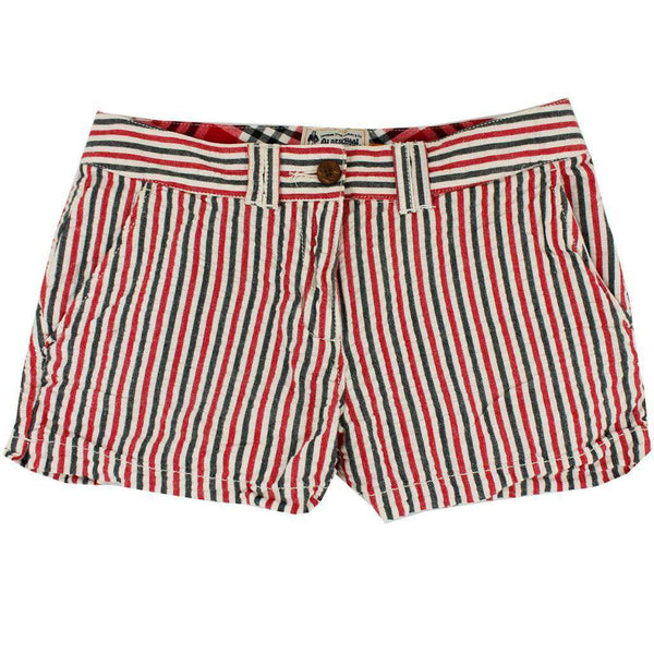 Women's Shorts - Women's Shorts In Red And Black Seersucker By Olde School Brand - FINAL SALE