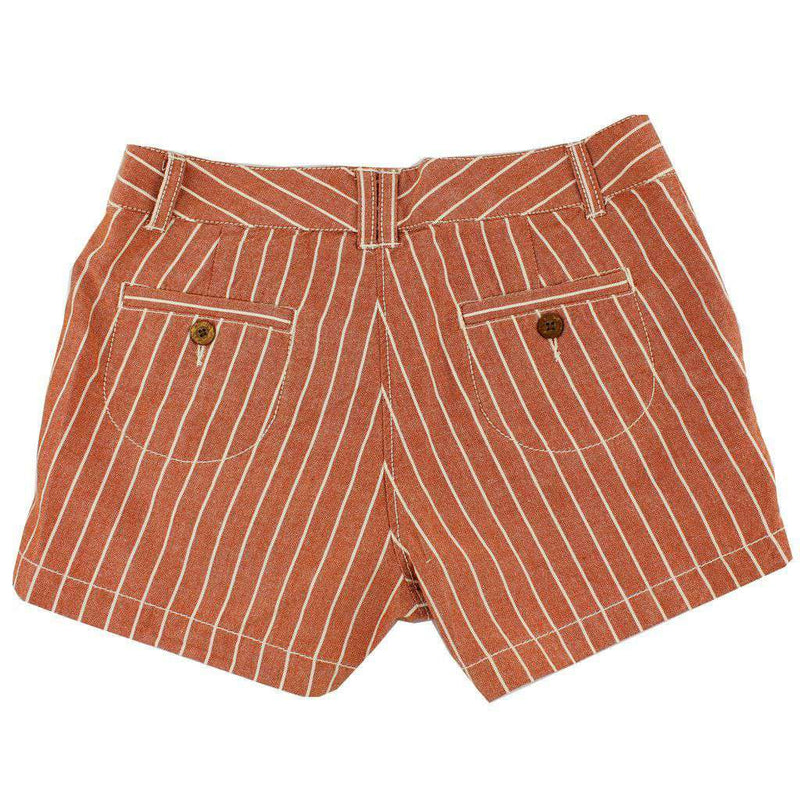 Women's Shorts in White and Burnt Orange Oxford Stripe by Olde School Brand - FINAL SALE