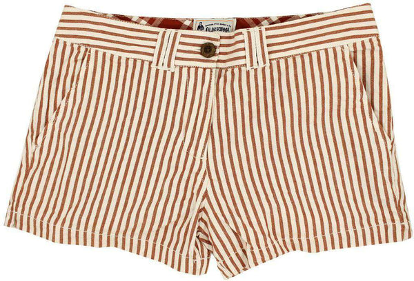 Women's Shorts - Women's Shorts In White And Burnt Orange Seersucker By Olde School Brand - FINAL SALE