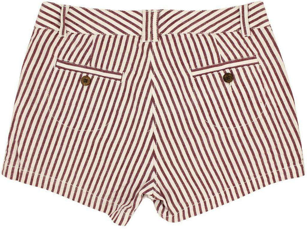 Women's Shorts in White and Maroon Seersucker by Olde School Brand - FINAL SALE