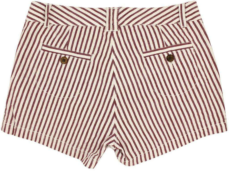 Women's Shorts - Women's Shorts In White And Maroon Seersucker By Olde School Brand - FINAL SALE